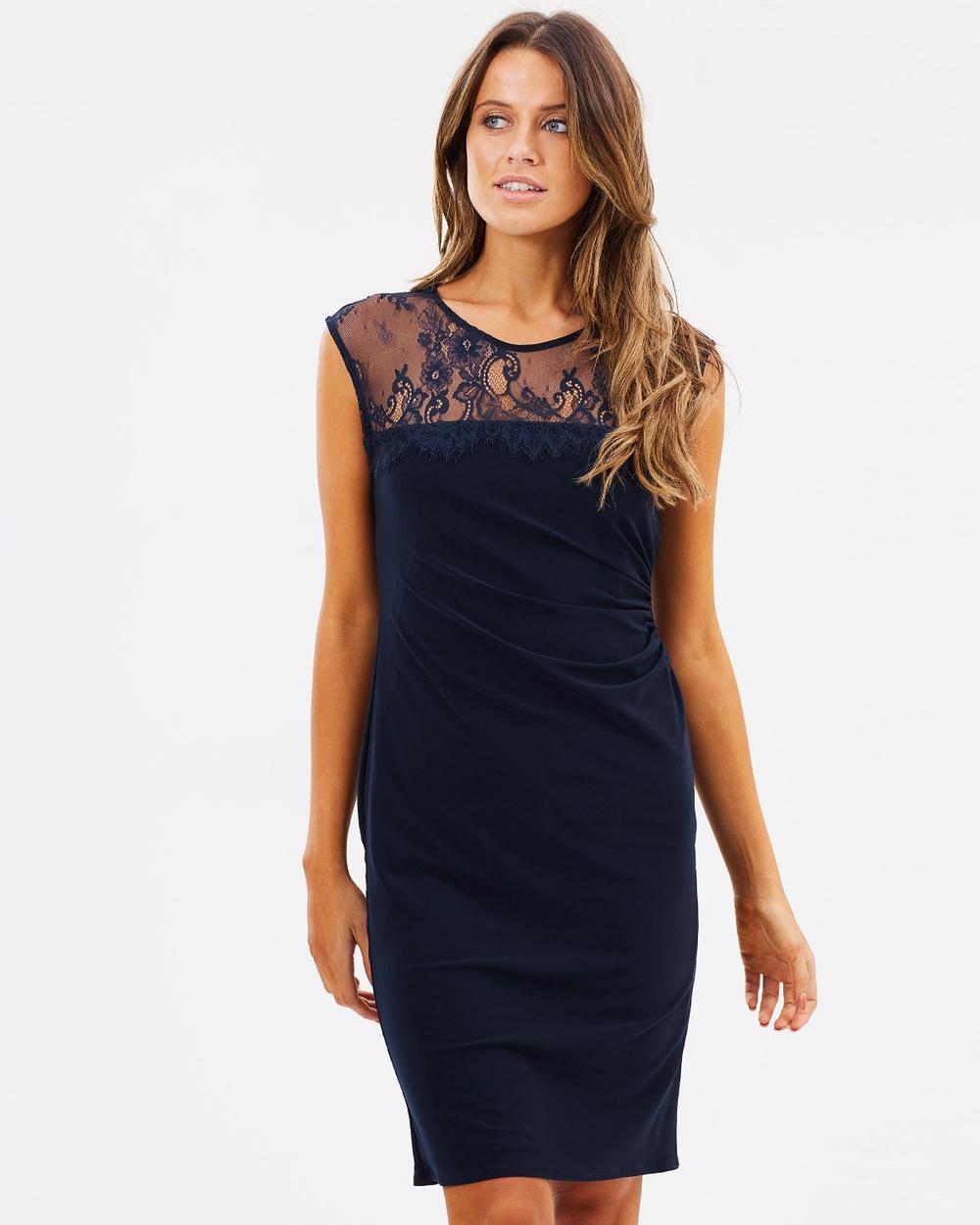 Wallis Lace Yoke Ruch Side Dress Dresses Navy Blue Lace Yoke Ruch Side Dress