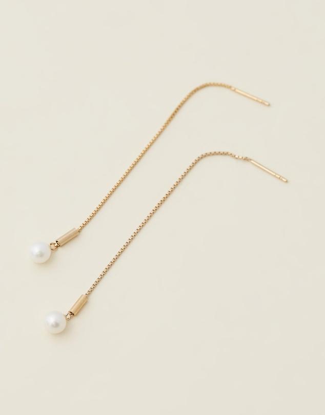 Women Drop Thread Pearl Earrings