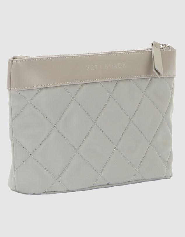 Women The Bondi Silver Quilted Clutch Pouch Zip Case