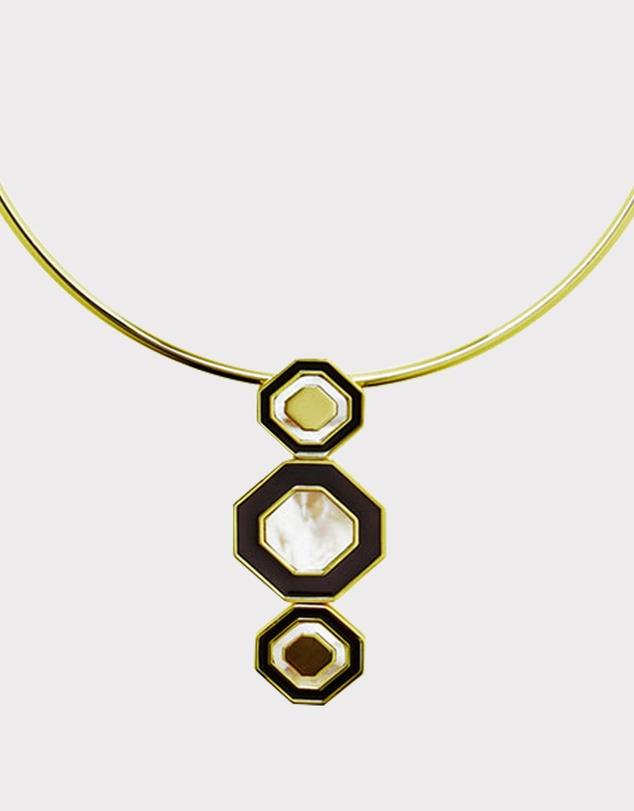 Women Octagonal Mop Pendant Ring Necklace