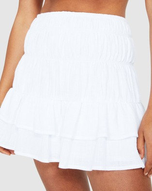 Subtitled Romi Rouched Mini Skirt - Skirts (WHITE)