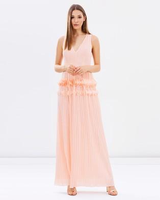 Lost Ink – The Wardrobe Fleur Diamond Chiffon Maxi Dress – Dresses (Peach)