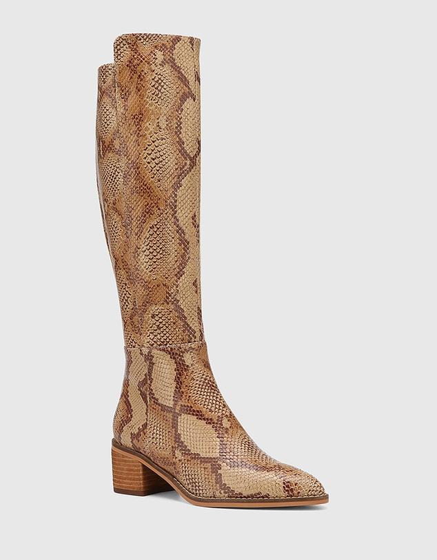 Women Joslyn Leather Block Heel Long Boots