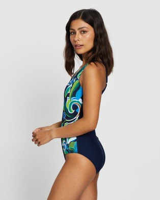 Zoggs Gladiolus Adjustable Scoop Back One Piece - One-Piece / Swimsuit (Multi & Navy)