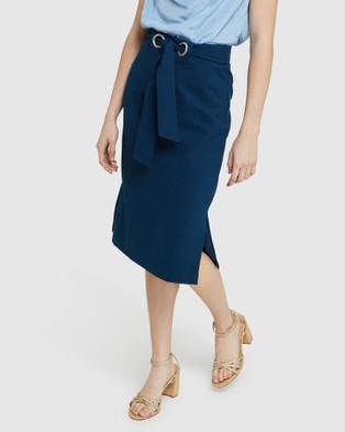 Oxford Giselle Eyelet Detail Ponti Skirt - Pencil skirts (Blue)