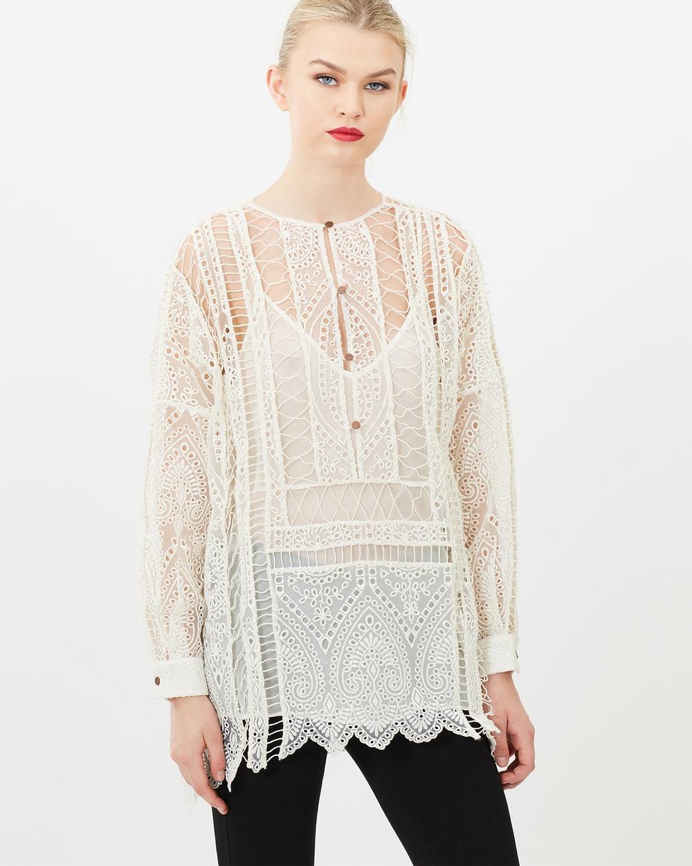 SIYONA Embroidered Bohemian Maxi Shirt Tops Cream Embroidered Bohemian Maxi Shirt