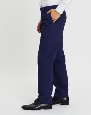 Gieves and Hawkes Cotton Seersucker Trousers - Pants (Navy)