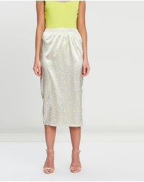 Missguided - Neon Polka Dot Midi Skirt