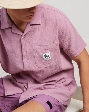 Stussy Grid Seersucker SS Shirt - Casual shirts (Mauve)