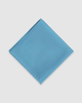 Buckle Plain Tie and Pocket Square Set - Ties (Aqua)