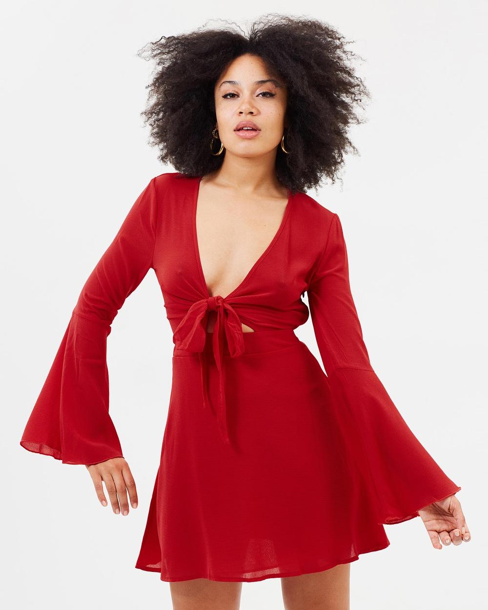 Missguided Tie Front Tea Dress Dresses Red Tie Front Tea Dress