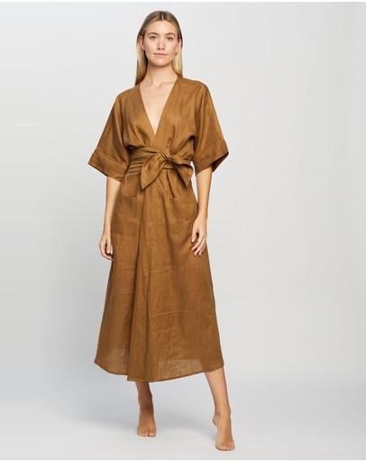 Le Buns Lilly Linen Kimono Robe Dress Cinnamon