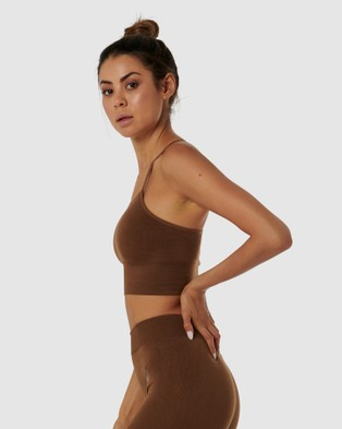 Nicky Kay Seamless Sports Bra - Crop Tops (Brown)