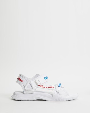Onitsuka Tiger Obhori Strap Sandals Unisex Casual Shoes White & Classic Red