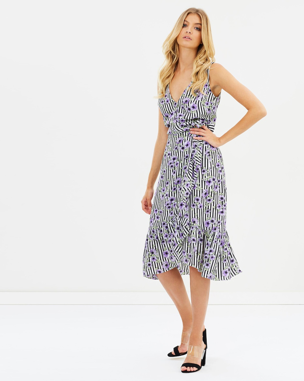 Atmos & Here ICONIC EXCLUSIVE Lavender Wrap Dress Printed Dresses Polka Line ICONIC EXCLUSIVE Lavender Wrap Dress