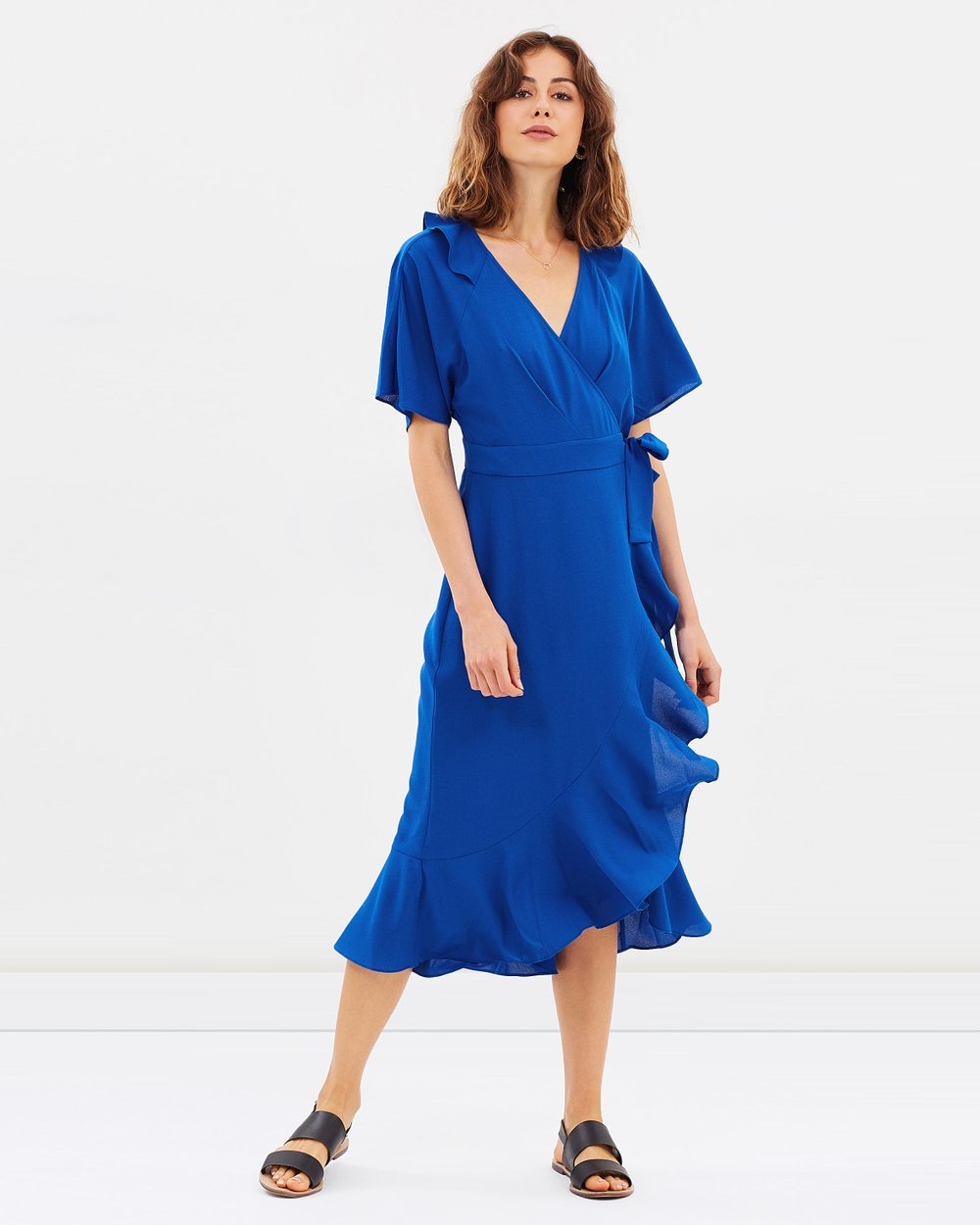 7106d1408f Abigail Frill Wrap Midi Dress by Whistles Online | THE ICONIC | Australia