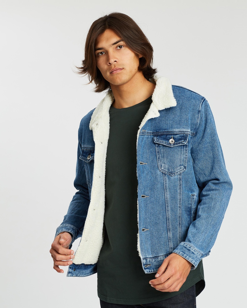 Silent Theory Jefe Sherpa Jacket Denim jacket Vintage Blue Australia