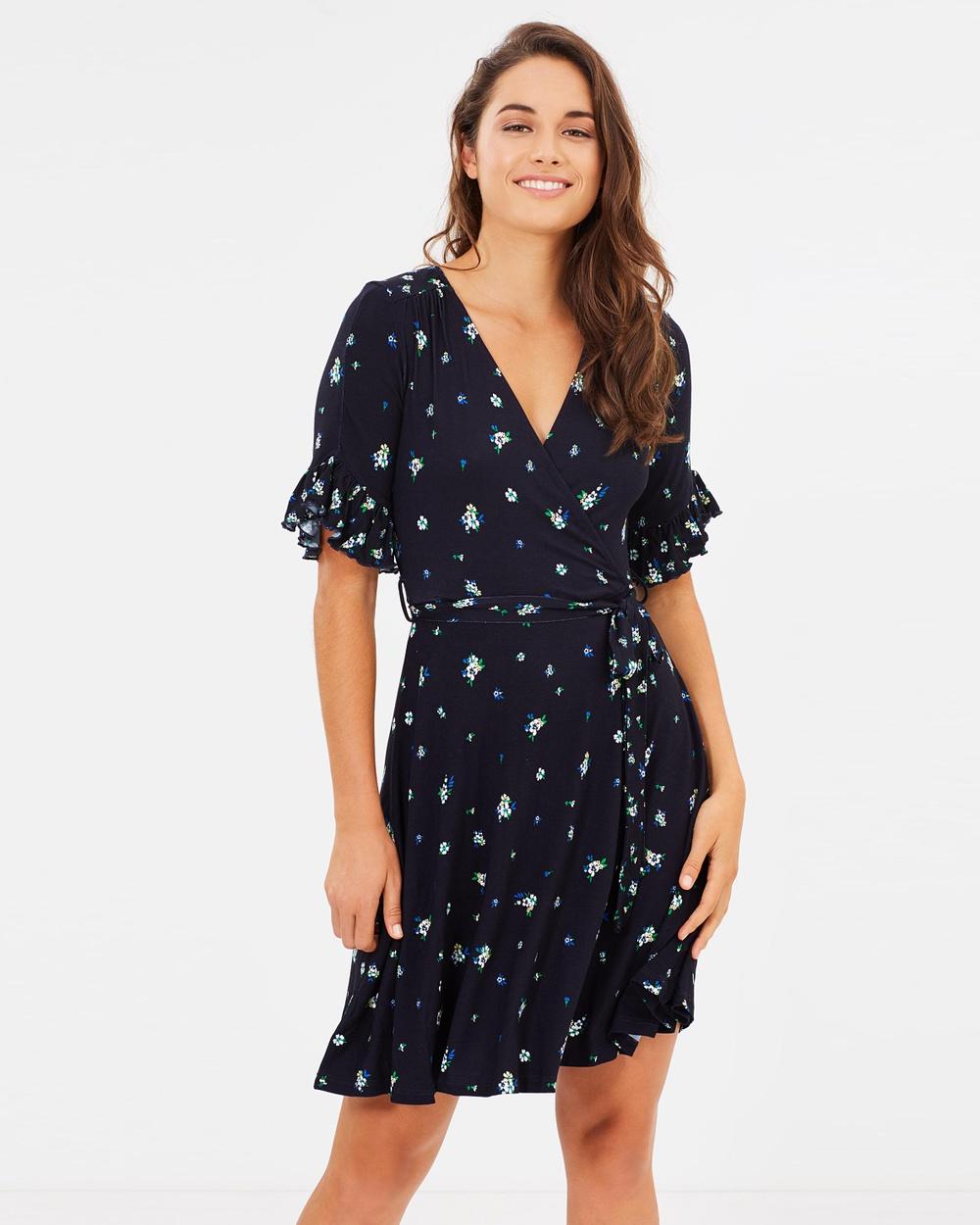 Dorothy Perkins Floral Wrap Dress Printed Dresses Navy Floral Wrap Dress