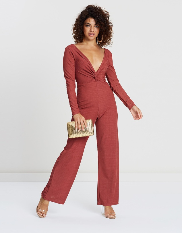 Miss Selfridge Petite - PETITE Ribbed Twist-Front Go Jumpsuit