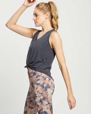 Onzie Knot Tee Muscle Tops Ombre Blue