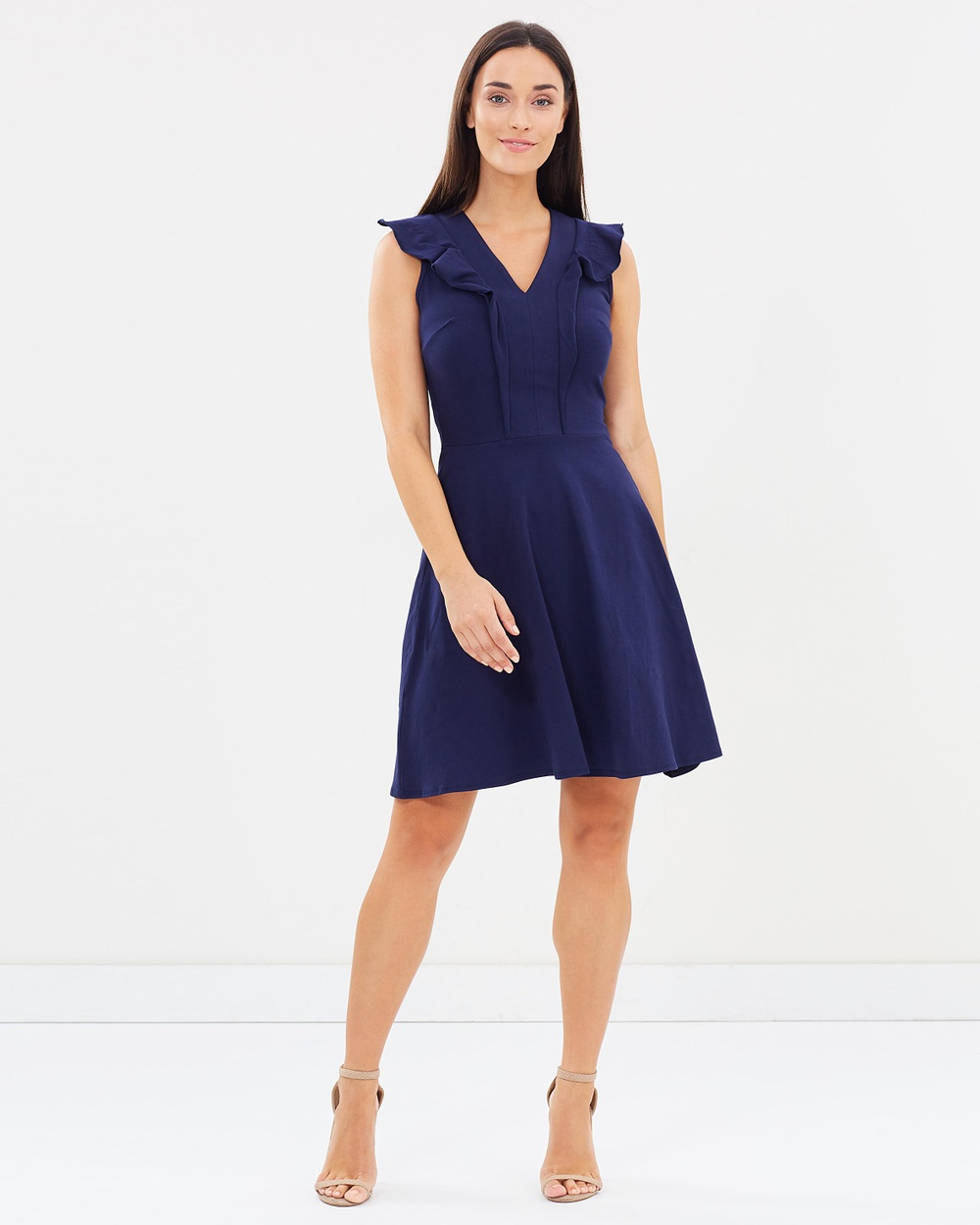 Dorothy Perkins V Neck Ruffle Fit And Flare Dress Dresses Navy Blue V-Neck Ruffle Fit And Flare Dress