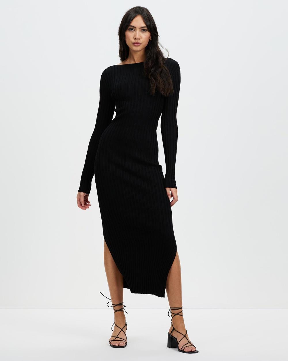 AERE Organic Cotton Blend Knit Dress Bodycon Dresses Black