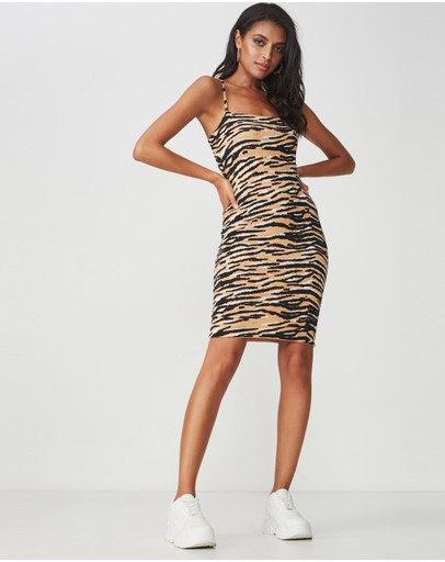 Supre Square Neck Mini Dress Tiger Print