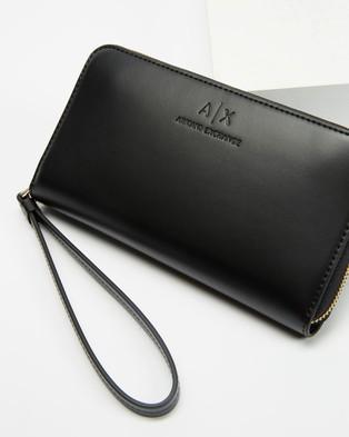 Armani Exchange - Zip Around Wallet Wallets (Black)