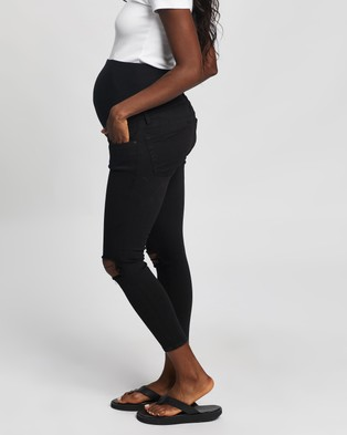 TOPSHOP Maternity Jaime Distressed Maternity Jeans - High-Waisted (Black)