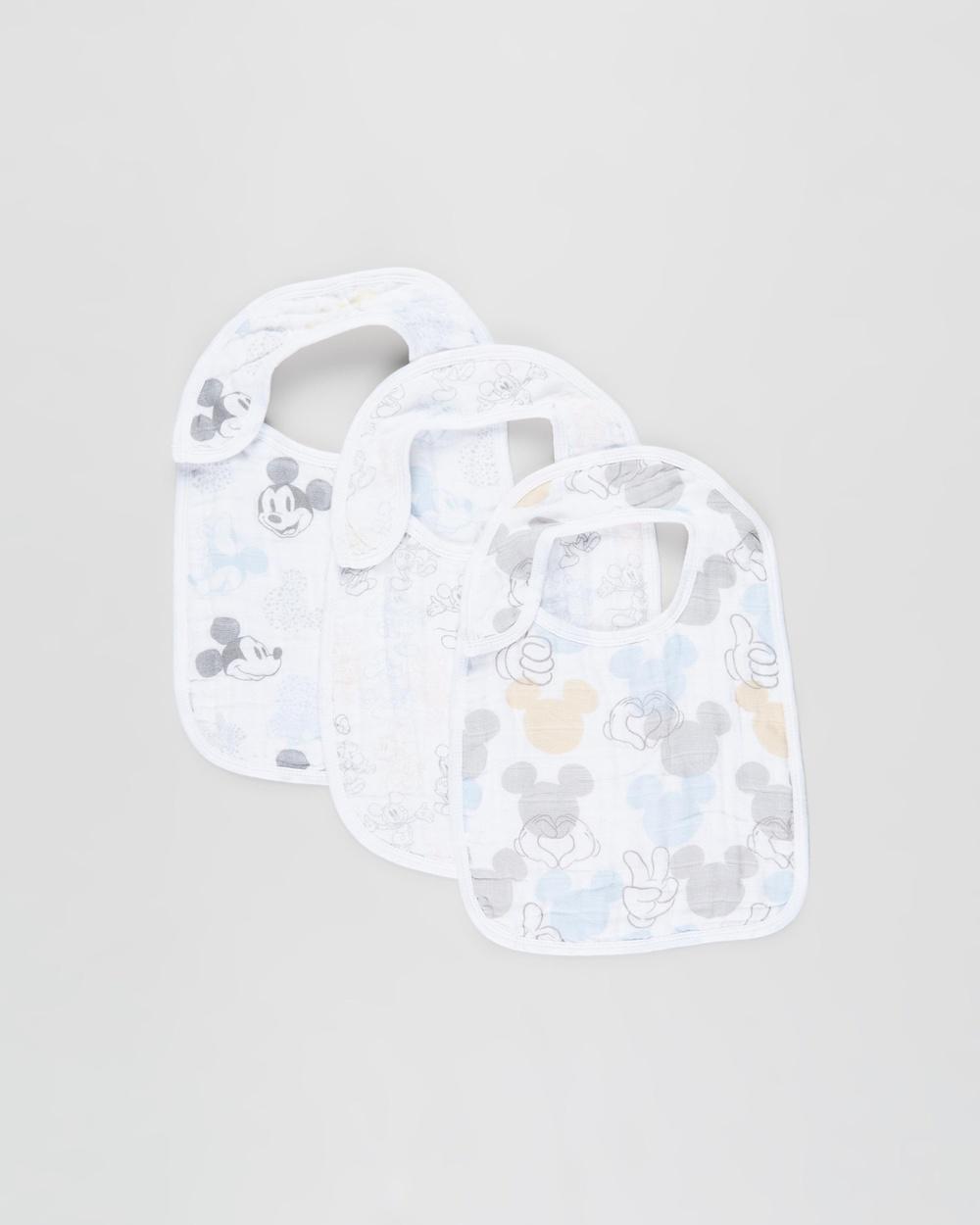 Aden & Anais 3 Pack Classic Snap Bibs Nursing Feeding Mickey + Minnie 3-Pack