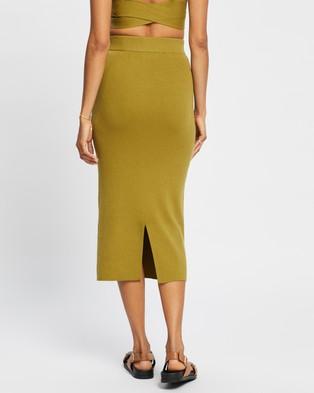 AERE Ribbed Midi Skirt - Skirts (Olive Oil)