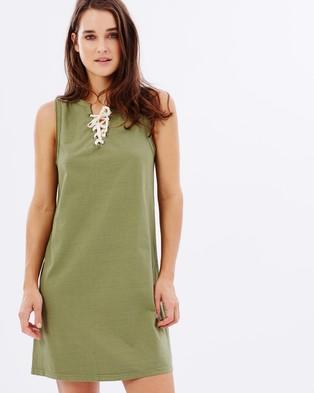 Atmos & Here – Zennia Lace Up Jersey Dress – Dresses (Khaki)