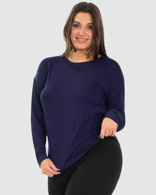 B Free Intimate Apparel Bamboo Long Sleeve Relaxed Fit Tee Sleepwear Navy
