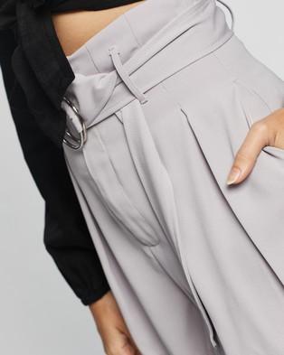 Glamorous High Waisted Belted Shorts - High-Waisted (Grey)