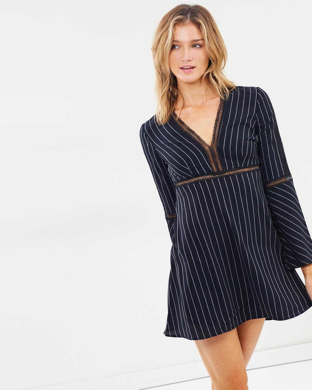 Bardot Pinstripe Dress Dresses Black Pinstripe Dress