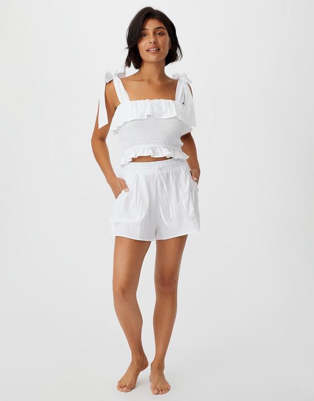 Women Tie Waist Beach Shorts