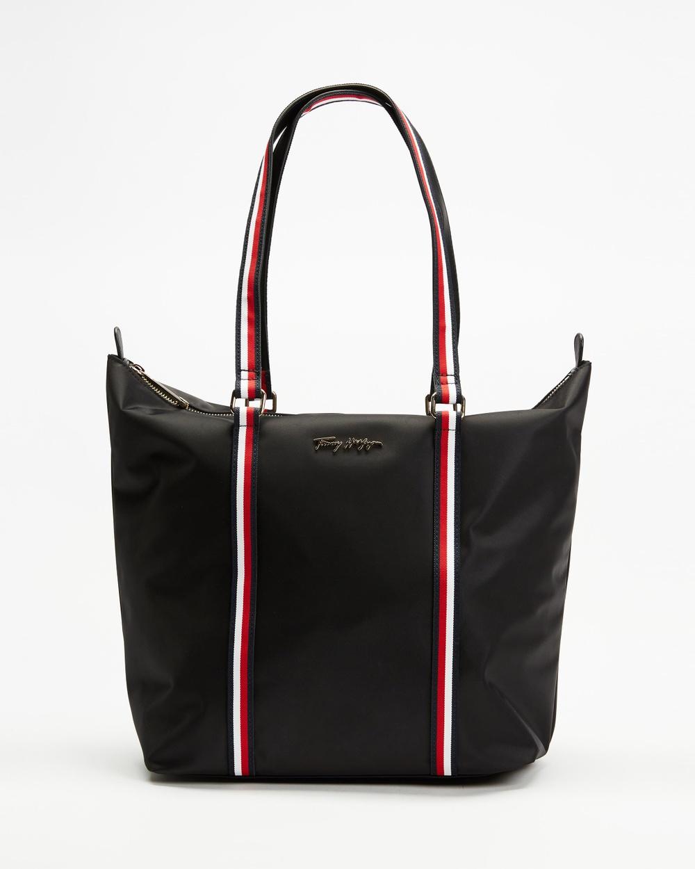 Tommy Hilfiger New Medium Nylon Tote Bags Black