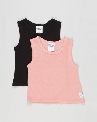 Eve Girl - 2 Pack Waffle Tank Kids Teens T-Shirts & Singlets (Pink Washed Black) 2-Pack Kids-Teens