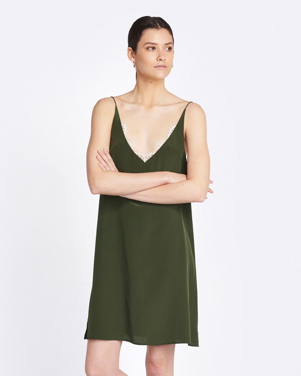 GINIA RTW Jasmin Silk Lace Dress Dresses Forest-Nude Lace Jasmin Silk Lace Dress