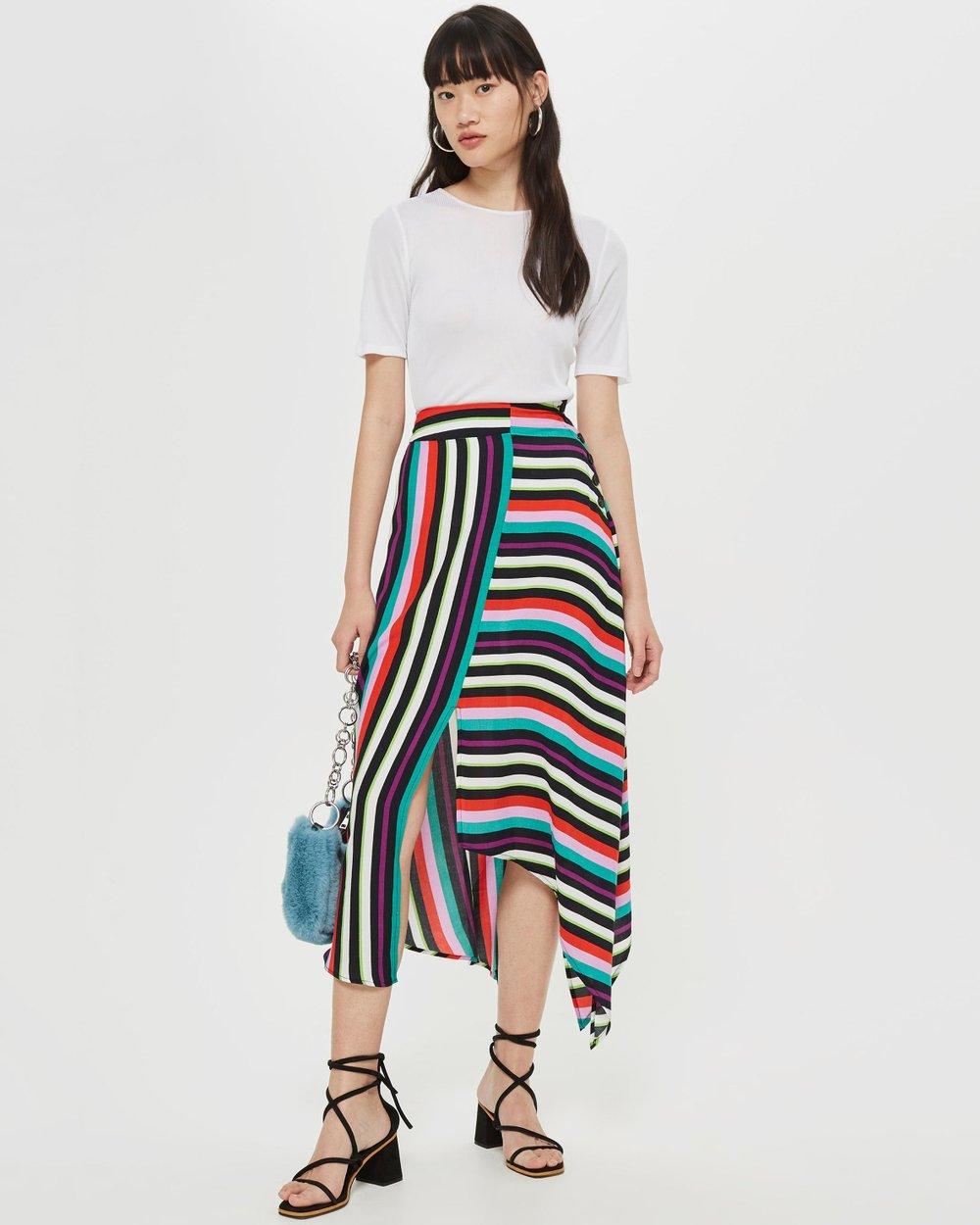 e54c6dd78ac Striped Hanky Hem Midi Skirt by TOPSHOP Online