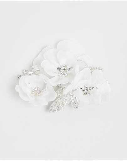 Ivory Knot Flo Hair Clip & Silver