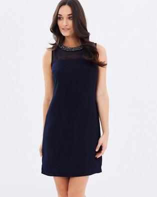 Dorothy Perkins – Embellished Necklace Shift Dress Navy