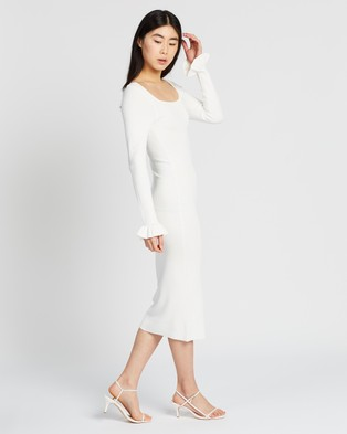 BY JOHNNY. - Frill Cuff Ribbed Midi Dress - Bodycon Dresses (White) Frill Cuff Ribbed Midi Dress
