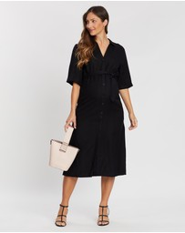 Angel Maternity - Maternity Linen Button Midi Dress