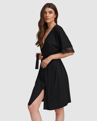 Oh!Zuza Lace Trim Robe - Sleepwear (Black)