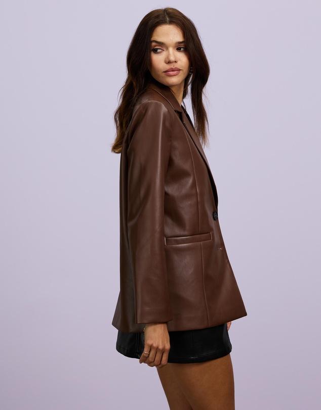 Women Fashion First PU Blazer