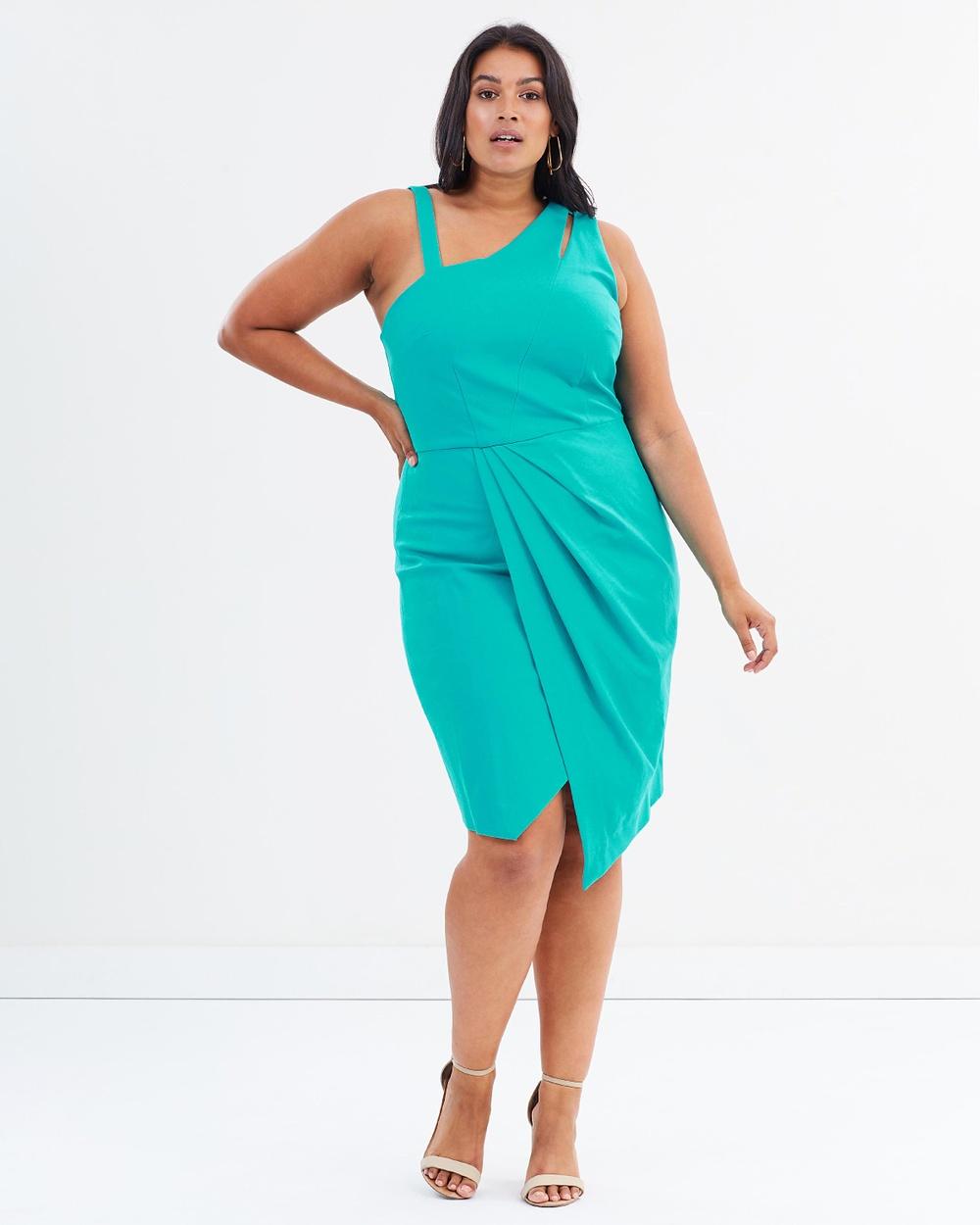 Rebel Wilson x Angels Asymmetrical Cut Out Dress Dresses Viridian Green Asymmetrical Cut-Out Dress