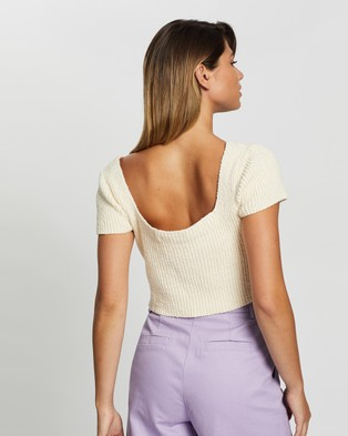 Glamorous Short Sleeve Knit Crop Top - Cropped tops (Cream)
