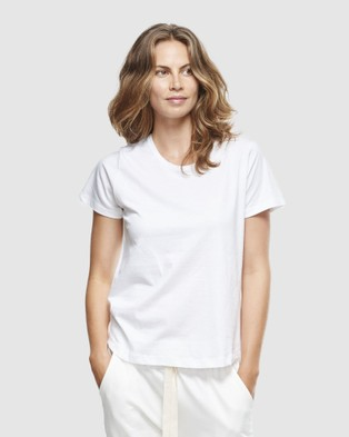 Cloth & Co. - Organic Cotton Crew Neck T Shirt Short Sleeve T-Shirts (White) T-Shirt