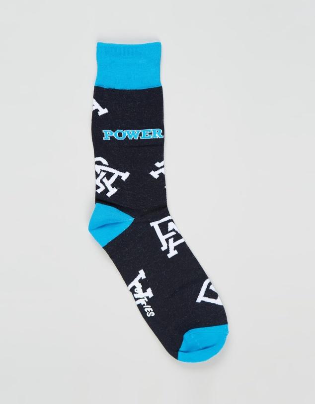 Men Port Adelaide Large Logo Socks - AFL x Foot-ies
